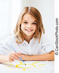 menininha, quadro, em, escola