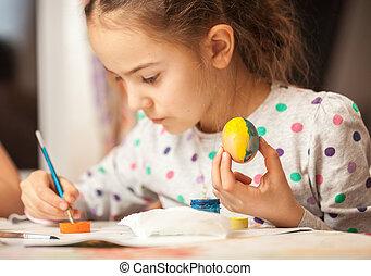 menininha, quadro, ovo, ligado, cristão, páscoa