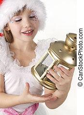 menininha, segura, um, natal, lanterna