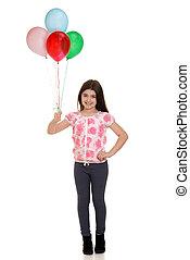menininha, segurando, balões
