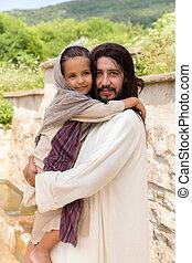 menininha, segurando, jesus