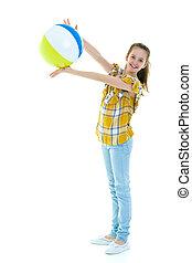 menininha, spo, tocando, ball., crianças, conceito