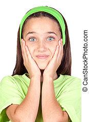menininha surpreendida, com, olhos azuis