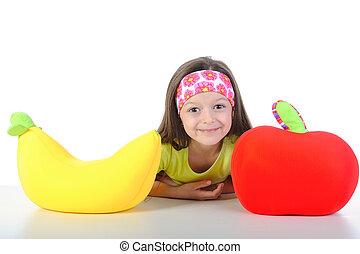 menininha, tabela, com, um, grande, banana, e, maçã