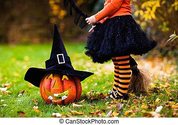 menininha, tendo divertimento, ligado, dia das bruxas,...