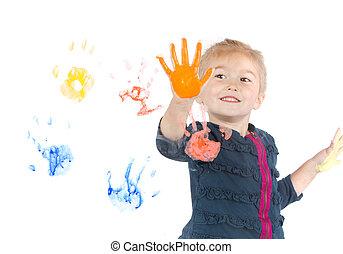 menininha, tintas, handprints, ligado, janela