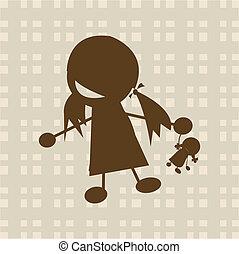 menininha, tocando, com, boneca