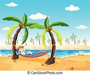 menino, árvore palma, relaxante, sob