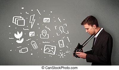 menino, ícones, fotógrafo, fotografia, símbolos, branca, capturando