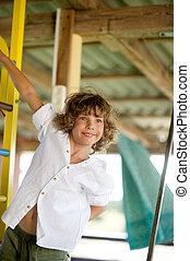 menino, 10-11, antigas, anos, maldoso, playground.