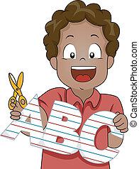 menino, abc, letras, papel, cutout, criança