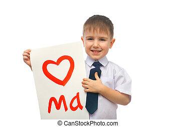menino, abraçando, desenhado, coração