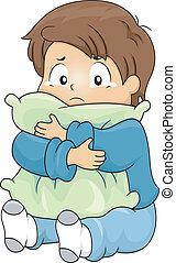Menino, Abraçando, enquanto, chorando, travesseiro, criança