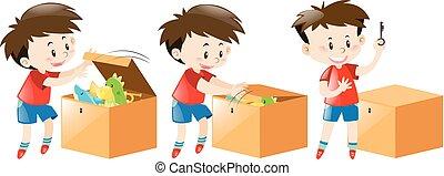 menino, abre, caixa, cheio, de, brinquedos