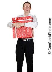 menino adolescente, abraçando, presente natal