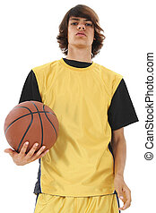 menino adolescente, basquetebol
