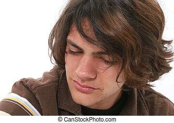 menino adolescente, chorando