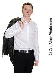 menino adolescente, com, revestimento couro