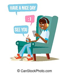 menino adolescente, conversando, apartamento, jovem, ilustração, sorrir., messenger., vector., adolescentes, caricatura