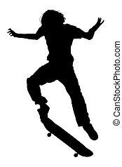 menino adolescente, cortando, silueta, skateboard, pular, caminho