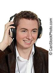 menino adolescente, escutar música