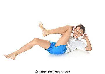 menino adolescente, exercitar, ioga