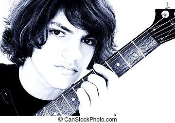 menino adolescente, guitarra, baixo