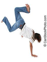 menino adolescente, handstand