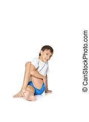 menino, adolescente, ioga, exercitar