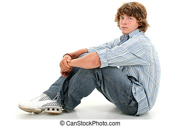 menino adolescente, sentando