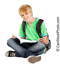 menino adolescente, sentando, chão, isolado, livro, branca, leitura