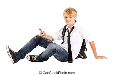 menino adolescente, sentando, estudante, chão