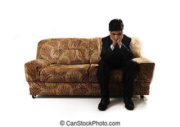 menino, adolescente, sentando, imagem, sozinha, emocional