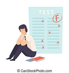 menino adolescente, seu, contagem, preocupado, sentando, chão, sobre, f, transtorne, resultados, ilustração, vetorial, estudante, teste, decepcionado