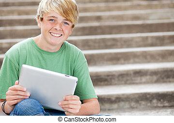 menino adolescente, tabuleta, jovem, computador, usando