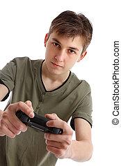 menino adolescente, tocando, jogo video