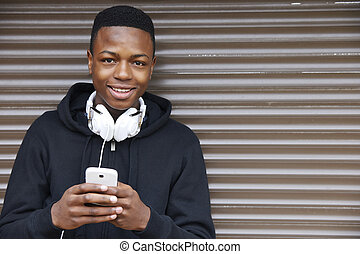 menino, adolescente, urbano, telefone, armando, escutar música, usando