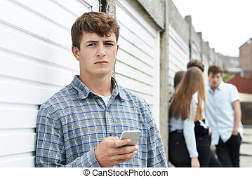 menino, adolescente, urbano, telefone móvel, armando, usando