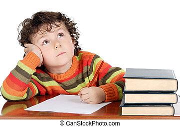 menino, adorável, estudar