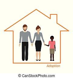 menino, africano, adoção, família, casa