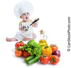 menino, alimento, isolado, saudável, preparar, bebê