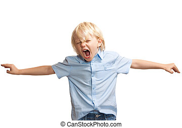 menino, alto, jovem, gritando
