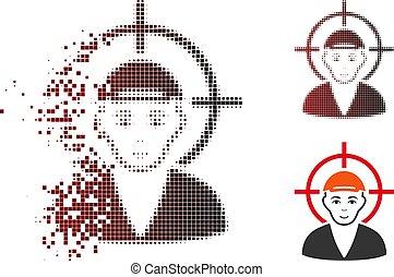 menino, alvo, rosto, dissipated, halftone, pixel, ícone