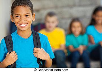 menino, americano, africano, escola, primário