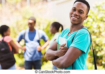 menino, americano, cidade faculdade universitária, africano