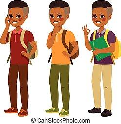 menino, americano, estudante, africano