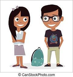 Menino, Amor, escola,  schoolchildren,  valentines, isolado, Ilustração, Dia, fundo, vetorial, caráteres, menina, branca, primeiro
