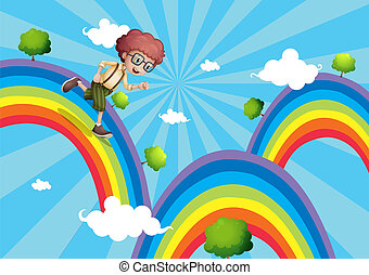 menino, andar, topo, arco íris