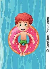 menino, anel inflável, jovem, relaxante