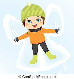 menino, angel neve